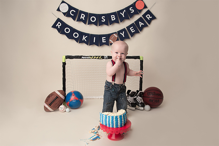 Sports Them Baby Milestone Photoshoot