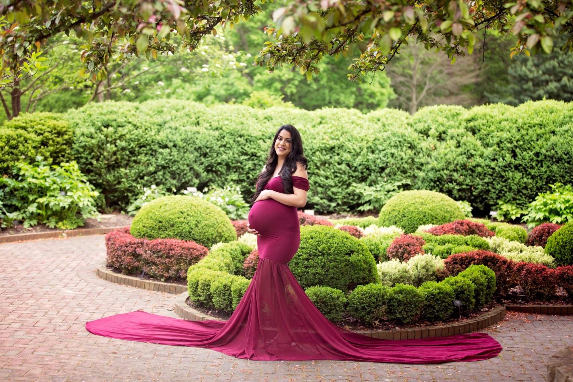 Beautiful Maroon Flowing Maternity Gown in Columbus Ohio