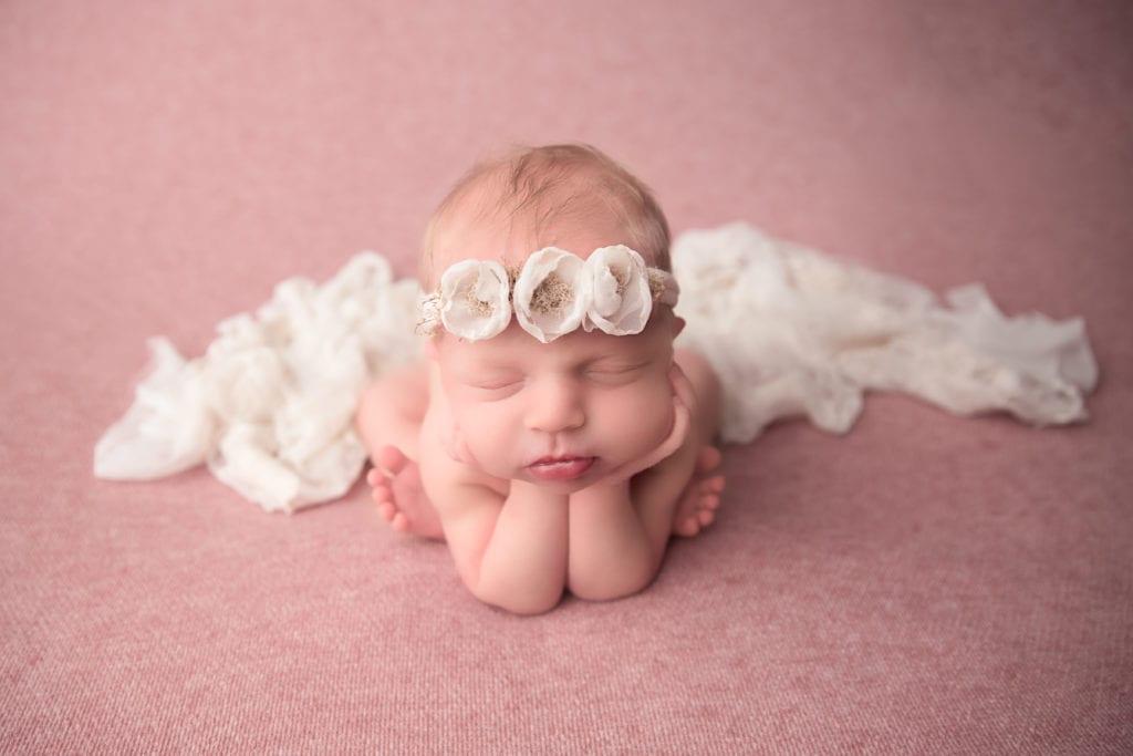 Newborn Baby Photo Shoot With White Flower Headband